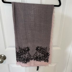 Express black lace design and pink scarf